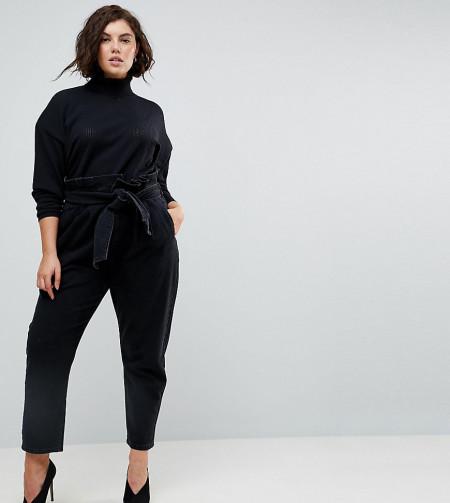 ASOS Curve: ASOS CURVE - Boyfriend-Jeans mit Paperbag-Taille und Gürtel - Blau