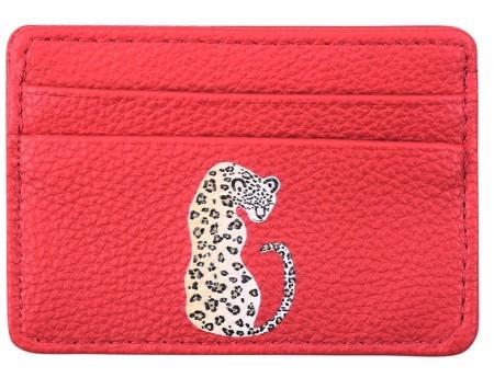 Knocknok:  Kartenetui Rot mit Leopard Vegan