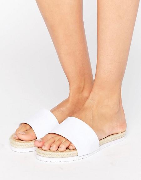 ASOS - FERNE - Gummi-Slider im Espadrille-Stil - Weiß
