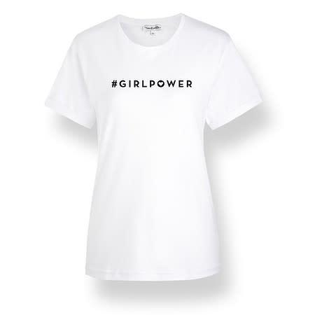 initielle T-Shirt #girlpower Herz weiß