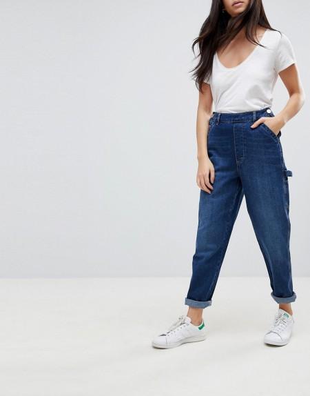 ASOS - CARPENTER-Jeans mit Knöpfen vorn in mittlerer Waschung - Blau