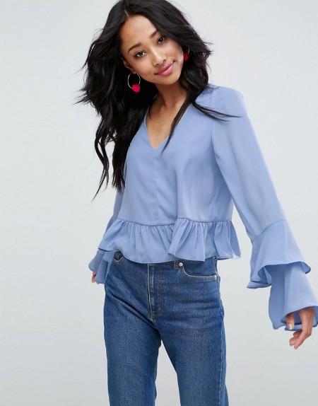ASOS - Bluse mit Rüschenärmeln - Blau