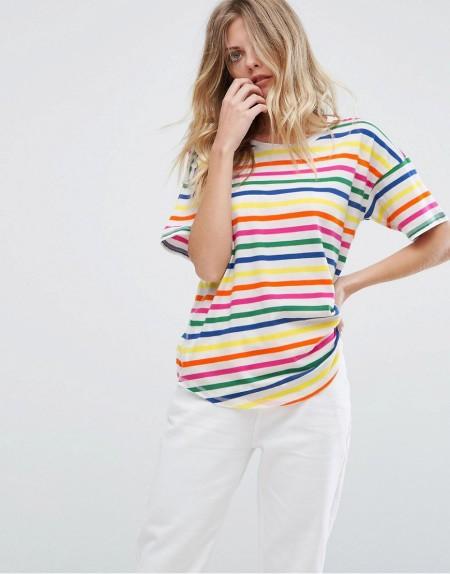Warehouse - T-Shirt mit Streifen in Regenbogenfarben - Mehrfarbig