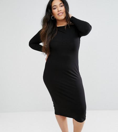 ASOS Curve: ASOS CURVE - Langärmliges figurbetontes Kleid in Midilänge - Schwarz