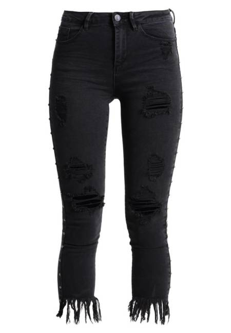 New Look: STUDDED RIPPED  - Jeans Skinny Fit - black
