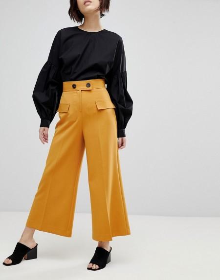 ASOS - Einfarbiger Utility-Hosenrock mit Tasche und Knöpfen - Gelb
