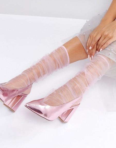 ASOS - Geraffte wadenhohe Socken aus Netzstoff - Rosa