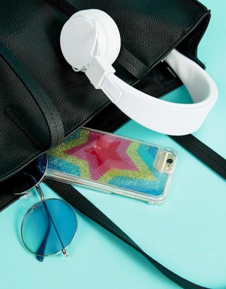 Skinnydip - Glitzernde Hülle für iPhone 6/7/8 mit Regenbogen- und Stern-Design - Mehrfarbig