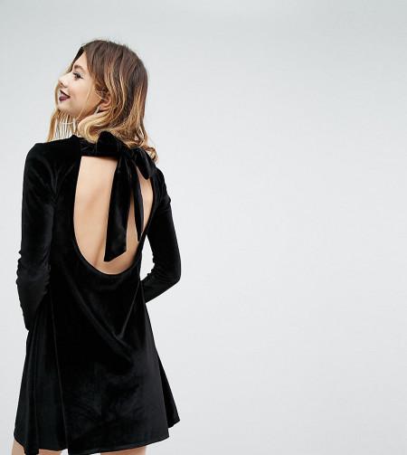 ROKOKO: Rokoko - Swing-Kleid aus Samt mit langer Kragenschleife - Schwarz