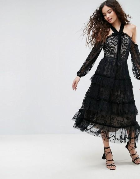Needle & Thread - Primrose - Schulterfreies Kleid aus Spitze - Schwarz