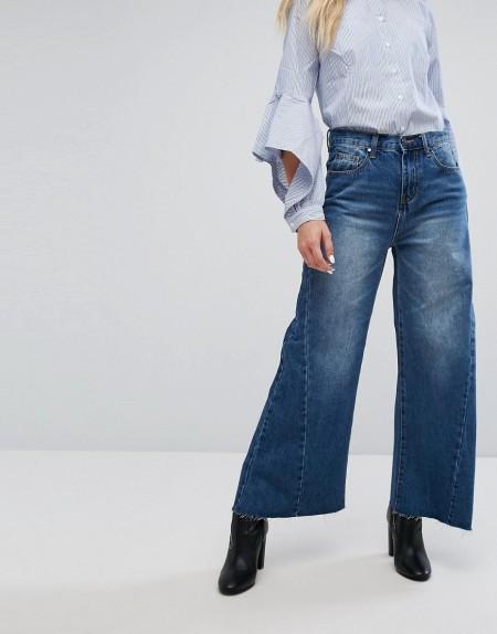 Evidnt: EVIDNT - Kurze Jeans mit weitem Bein - Blau