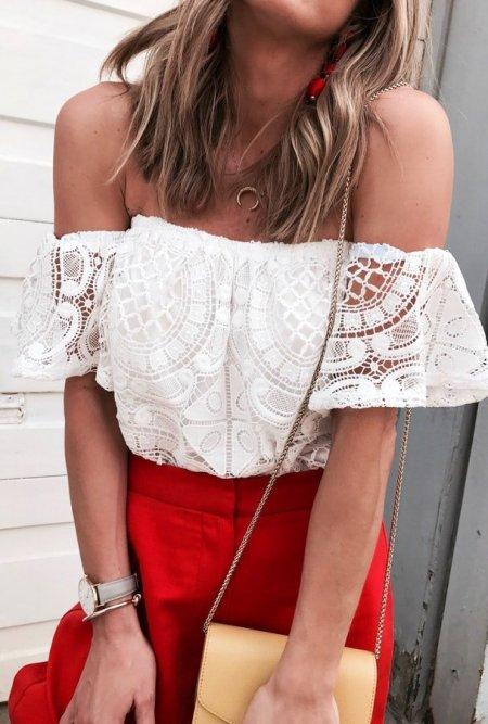 Fashion Movements: off shoulder lace crochet top floral