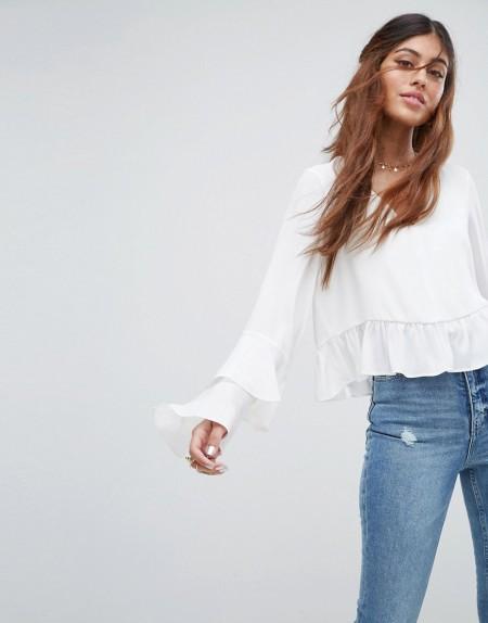ASOS - Bluse mit Rüschenärmeln - Weiß
