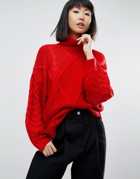 ASOS - Pullover mit Zopfmuster und Rollkragen - Rot