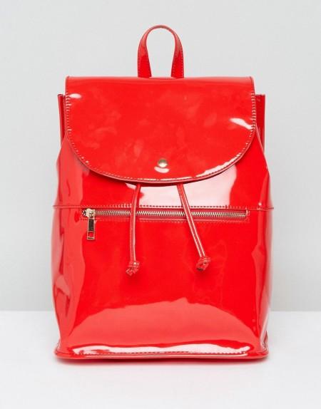 ASOS - Weicher Lack-Rucksack mit Reißverschluss - Rot