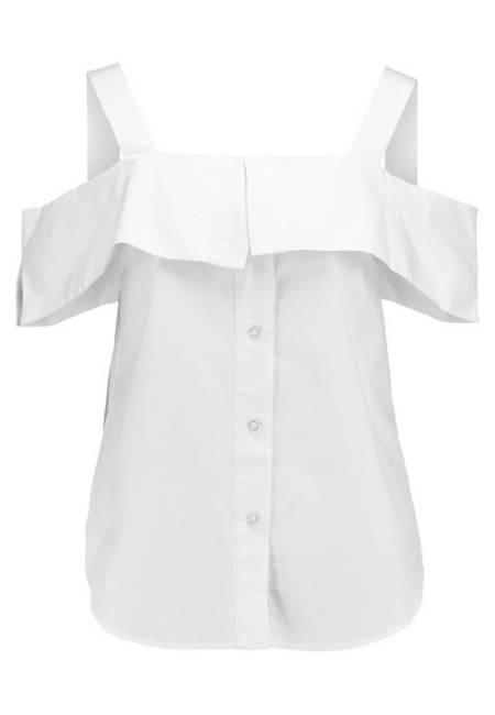 Warehouse: BUTTON THROUGH OFF SHOULDER - Bluse - white