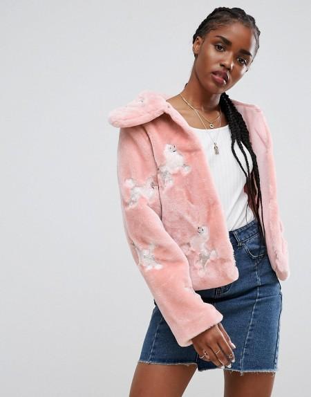 ASOS - Jacke aus Fellimitat mit Pudel-Stickerei - Mehrfarbig