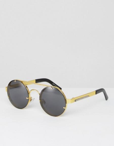 Spitfire - Runde Sonnenbrille in Schwarz und Gold - Gold