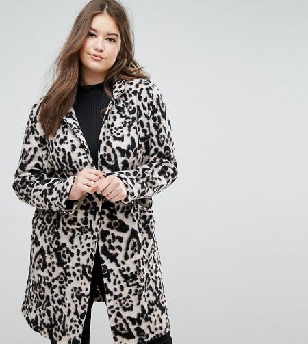 Elvi - Wollmantel mit Leopardenmuster - Mehrfarbig