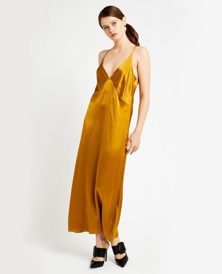 OTTO D´AME: LIQUID GOLD VISCOSE SLIP DRESS