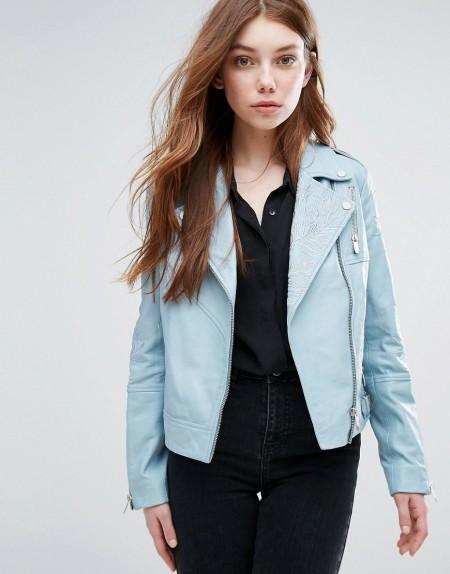 Urbancode - Bestickte Biker-Jacke - Blau