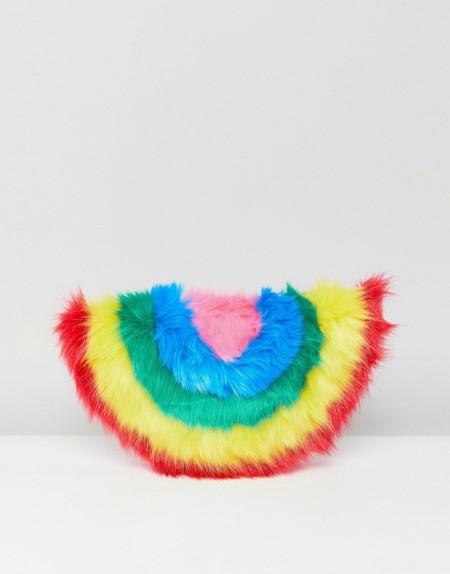 Skinnydip - Clutch aus Kunstfell in Regenbogenfarben - Mehrfarbig