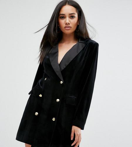 Missguided - Blazer-Kleid aus Samt mit Knopf-Detail - Schwarz