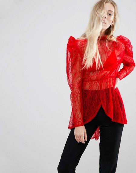 ASOS - Hochwertige, lange Bluse mit Puffärmeln aus Spitze - Rot