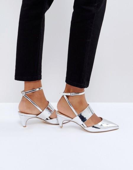 OFFICE: Office - Maple - Schuhe mit Kitten-Heel-Absatz, Metallic - Silber