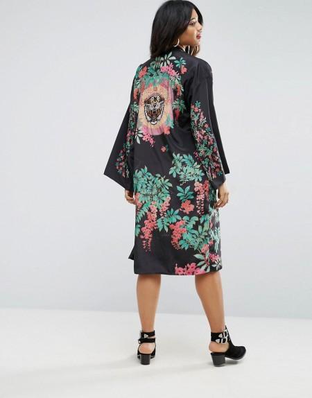 ASOS - Kimono mit Tigerstickerei - Mehrfarbig