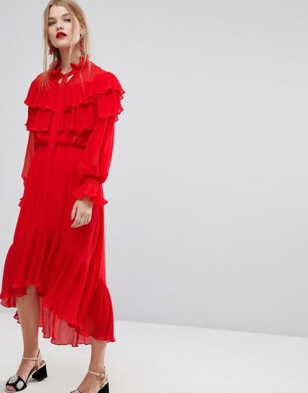 Y.A.S - Kleid mit Rüschen - Rot
