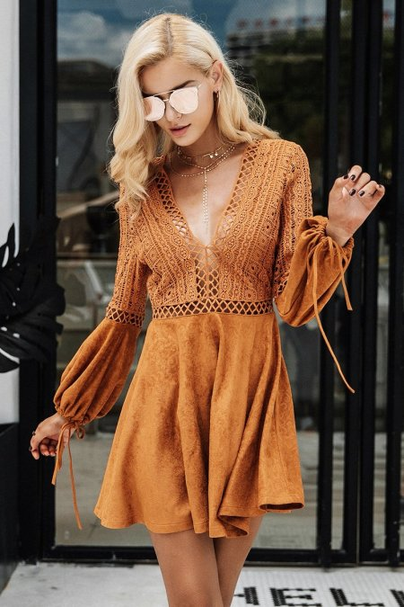 Fashion Movements: Lace up Brown suede v-neck dress