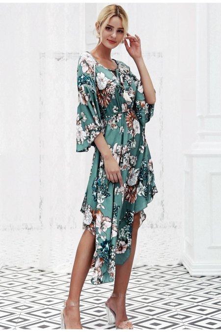 Fashion Movements: Green floral boho flare maxi dress