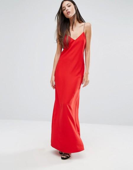 Warehouse - Kleid mit strassbesetzten Spaghettiträgern - Rot