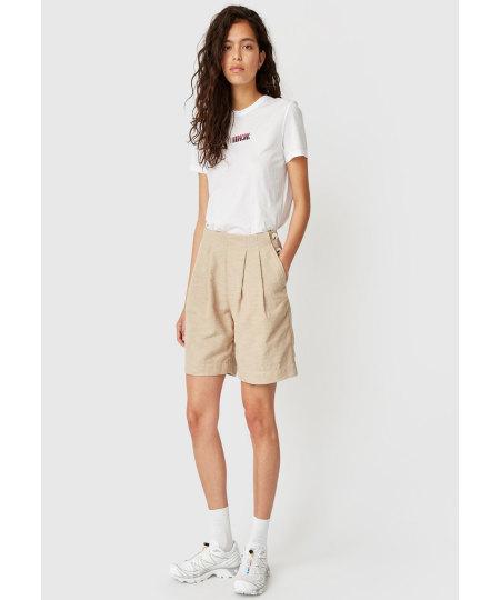 Wood Wood: WOOD WOOD Beigefarbene Shorts mit weitem Bein