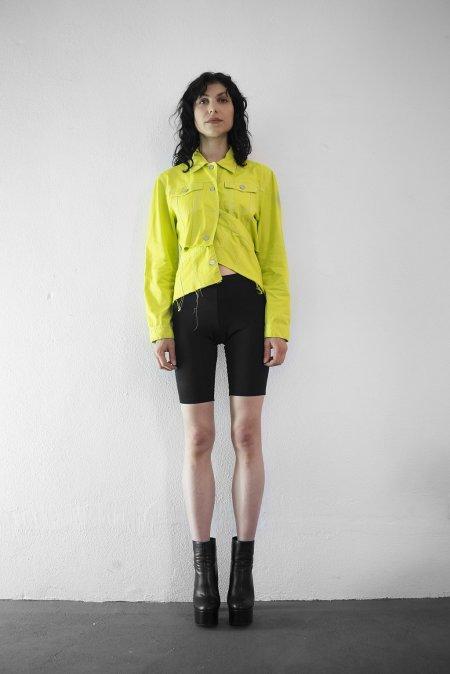 Studio183: Cropped Lime Denim Jacket