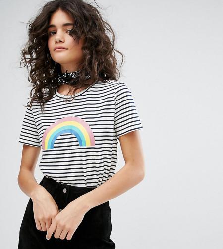 People Tree - Gestreiftes T-Shirt aus Biobaumwolle mit Regenbogen-Grafik - Mehrfarbig