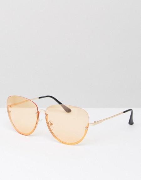 Jeepers Peepers - Überdimensionierte Katzenaugensonnenbrille mit Halbrahmen und pfirsichfarbenen Gläsern - Orange