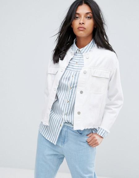 Waven - Hanna - Kragenlose Oversize-Jeansjacke mit gekürztem Schnitt - Weiß