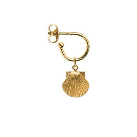 blue billie: Seashell Small Hoop Earring Gold Plated
