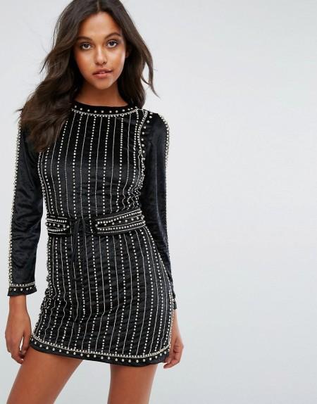 Starlet - Verziertes Minikleid aus Samt mit Korsettdesign - Schwarz