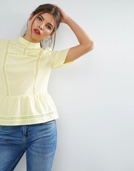 ASOS - Victoriana - Kurzärmlige Bluse mit Rüschenbesatz - Gelb