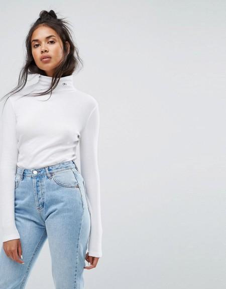 Calvin Klein Jeans - Rollkragenpullover mit Logo - Weiß