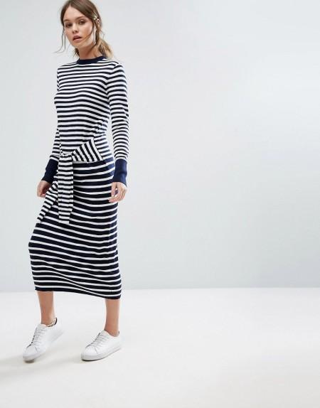 Warehouse - Vorne gebundenes Kleid mit Streifen - Mehrfarbig