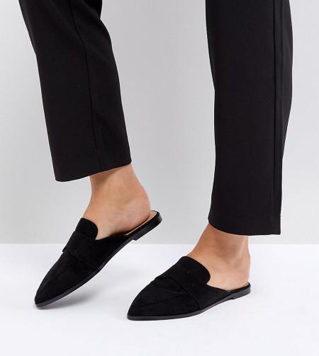 ASOS - MOUSE - Spitze Pantoletten mit weiter Passform - Schwarz