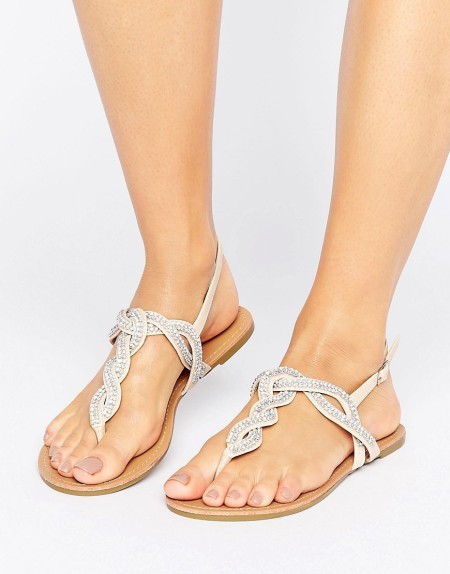 Miss KG - Danni - Geflochtene Sandalen mit Schmucksteinen - Beige