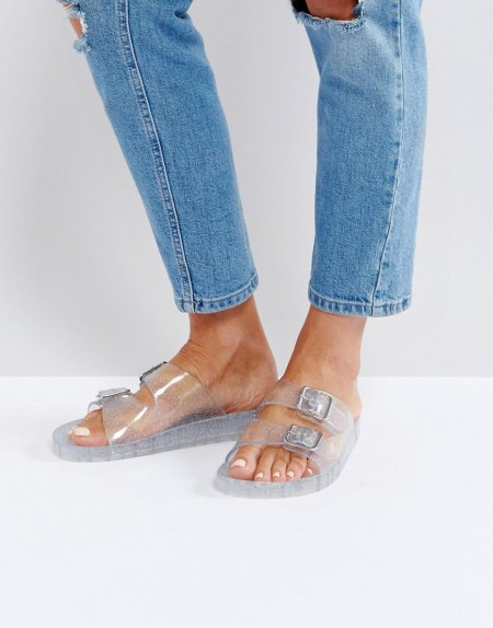 Bershka - Transparente Jelly-Sandalen mit Glitzer - Silber