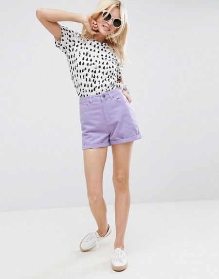 ASOS - Jeans-Mom-Shorts in Lila - Violett