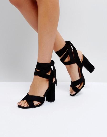 Truffle Collection - Schnür-Sandalen mit Blockabsatz - Schwarz