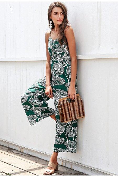 Fashion Movements: leaf palm print tropical floral green jumpsuit wide leg